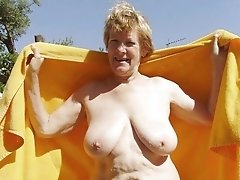 French blonde granny with big boobs