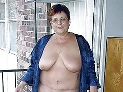 Chubby old granny with big saggy tits