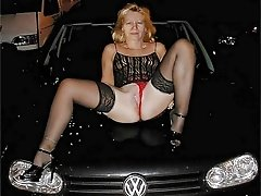Wife spreads her legs on a car bonnet