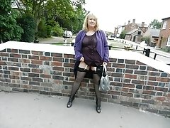 Sexy granny flashing outdoors