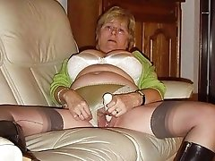 Nasty toying british granny slut