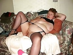 Slutty mature in black nylon stocks