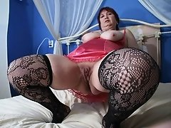 Super hungry fatty granny in stockings