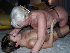 These hot mature lesbian babes get down and dirty with each other