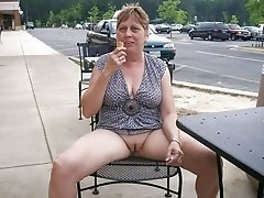 Mature cougar flashing pussy outdoors