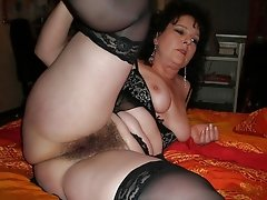 Chubby granny with hairy pussy spreads