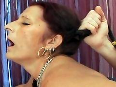 Horny old woman getting her wet pussy drilled & face milked