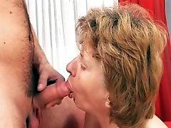 Nice gramma showing her curly pussy to horny man