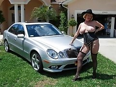 Polish blonde granny posing outdoors