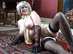 Busty grandma Georgette in lingerie