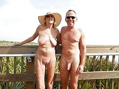 naturist mature couple outdoor
