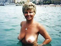 Lovely, blonde amateur granny enjoys herself