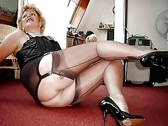 Older BBWs Wearing Stockings and High Heels