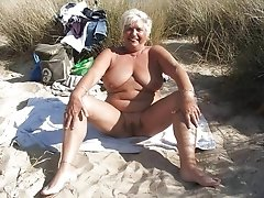 Beautiful old blonde horny granny posing nude