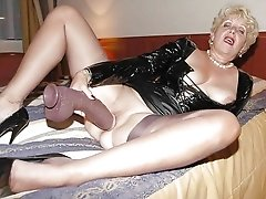 Naughty horny granny goes solo