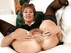 Sexy Nylons Hairy Mom Spreads Legs on the Sofa