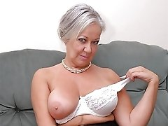 Blonde juicy French granny playing alone