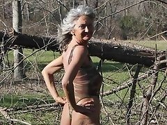Old village granny flashing in the wood and searching some cock to suck