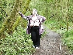 breasted and curvy village granny flashing in the forest