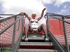 Granny in Lingerie Flashing Outdoor