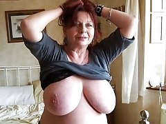 Beautiful  granny housewife loves to pose