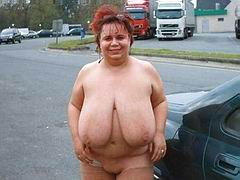 Chubby mom with lovely big boobs poses naked