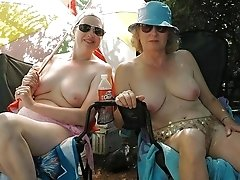 Attractive old ladies relaxing outdoors