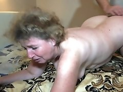 Granny gets banged hard from behind while being with her best girlfriend