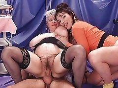 Sexy Granny Enjoys Threesome